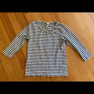 J. Crew 3/4 sleeve embellished cotton tee Small